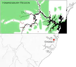 The Hawkesbury region in relation to Sydney, Australia